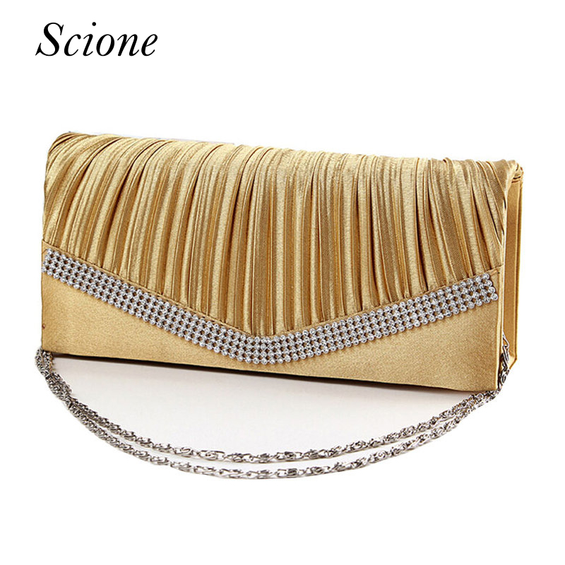 2017 Satin Rhinestone Evening Clutch Shoulder Bag Ladies Gold Clutch Purse Chain Handbag Bridal Wedding Party bolsas mujer Li294 hot ladies crystal rhinestone clutch women pearl evening bag bridal purse dinner party chain handbag bag bolsas mujer xa1085b