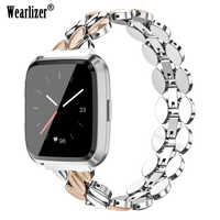 Fashion Stainless Steel Watch Strap For Fitbit Versa Band Bracelet Replacement Metal Wristbands For Fitbit Versa Lite