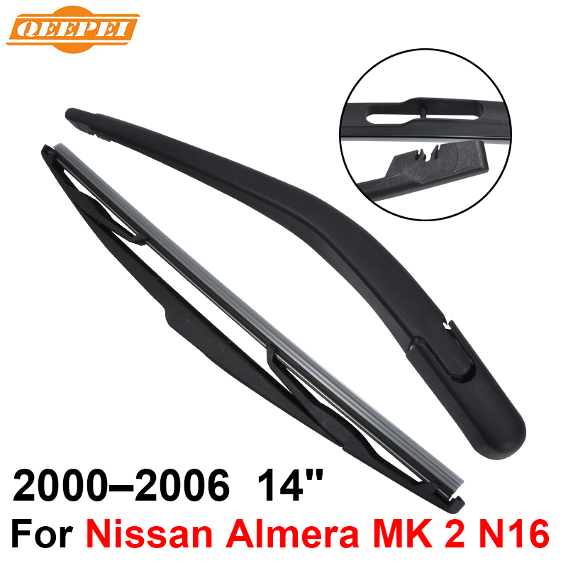 QEEPEI Rear Windscreen Wiper and Arm For Nissan Almera MK 2 N16 2000-2006 14'' 3/5 door Hatchback High Quality Natural Rubber