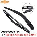 Qeepei traseras limpiaparabrisas y el brazo para nissan almera 2 N16 2000-2006 14 ''3/5 puertas Hatchback de Alta Calidad Natural caucho
