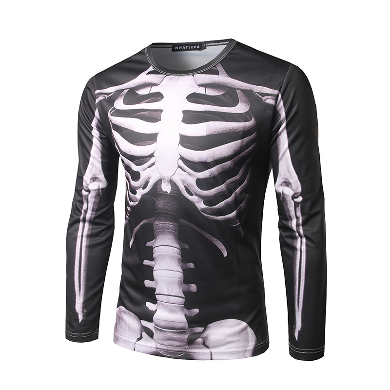 Cool skeleton 3d printed mens t shirt 2017 brand new long for Long sleeve cooling mens shirts