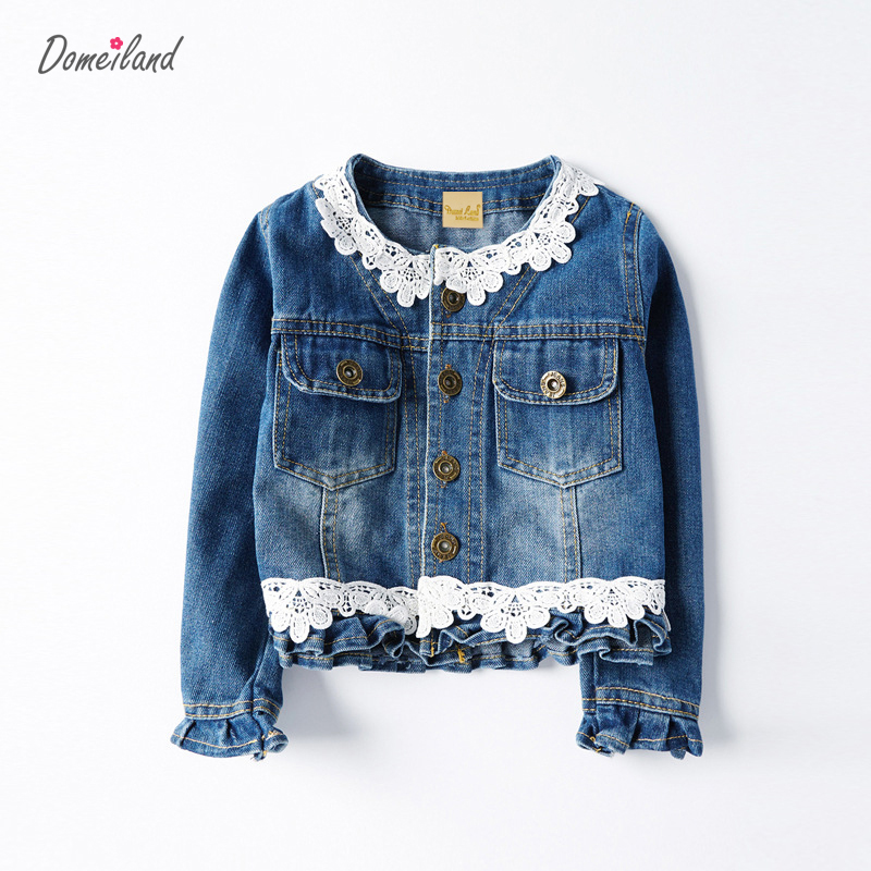 2017 fashion brand domeiland Children clothing for spring girl long sleeve lace Denim floral jackets baby