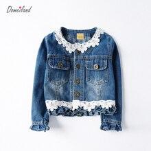 2017 marque de mode domeiland vêtements Pour Enfants pour le printemps fille manches longues En dentelle Denim floral vestes bébé fille vêtements