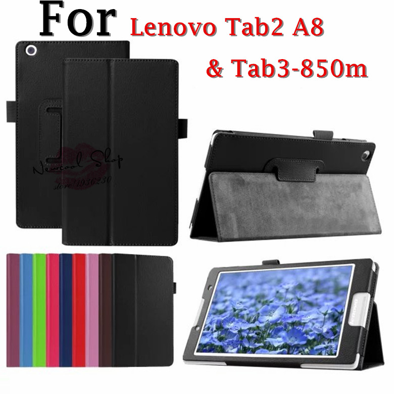 Tab2 A8 Litchi Leather Case Flip cover For Lenovo Tab 3 tab3 8 8.0 inch TB3-850F TB3-850M 8 inch Tablet Case Protective shell