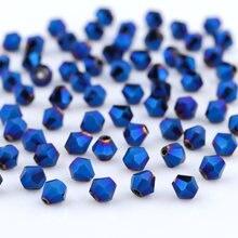 Perles Bicone en verre à facettes, rouge autrichien, pour matériel de couture, bijoux, fournitures de travaux manuels Perles d'espacement en cristal ample, 4mm