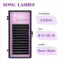 SONG LASHES  False Eyelash Extensions Soft Thin Tip Flat Roots New Products 0.03 THICKNESS