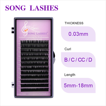 Free Shipping SONG LASHES False Eyelash Extensions Soft Thin Tip New Products 0.03 THICKNESS Free Shipping eyelash extension