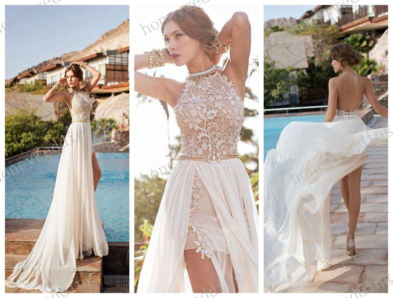 c4de5db2f1eb4 US $146.12 |Julie Vino 2015 Backless Wedding Dresses Eden Halter High Neck  Chiffon Sheer Wedding Dress Lace Beads Sexy Side Slit Bride Gown on ...