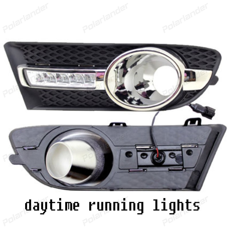 1pair accessory auto lamps Daytime Running Lights LED DRL Fog Lamp Cover for B/uick E/xcelle G/T High Configuration 2010 -2013