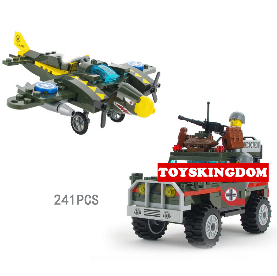 Hot ww2 Air raid armed vehicle building block Shark P-40 Bomber hummers jeep bricks airforce army figures toys for kids gifts