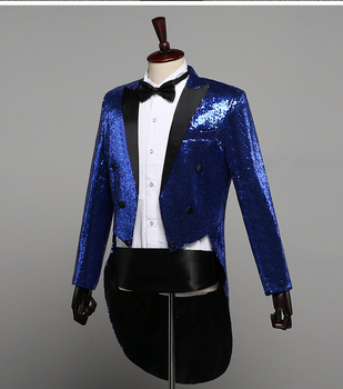PYJTRL Mens Fashion Champagne Gold Silver Red Blue Black Sequins Tuxedo Swallowtail Coat Singers Paillette Jacket Costume Outfit