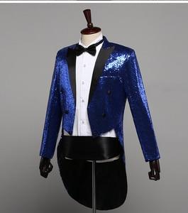 Image 2 - PYJTRL Mens แฟชั่นแชมเปญ Gold Silver Red Blue Black Sequins Tuxedo Swallowtail นักร้อง Paillette แจ็คเก็ตเครื่องแต่งกาย