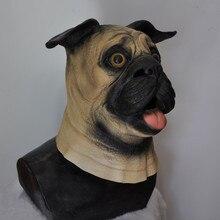 Realistic Pug dog Latex Rubber mask Animal Party Sharpei Dog Mask
