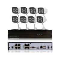 채널 HD 960 마력 1.3MP POE IP 카메라 시스템 보안 네트워크 P2P 감시 야외 나이트 비전 8CH POE NVR Onvif 2.1 CCTV 키트