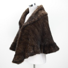 S1564 Wholesale / Retail  2016 Thick Knitted Lady Real Mink Fur  Poncho Or Women Winter Fur Cape Shawl