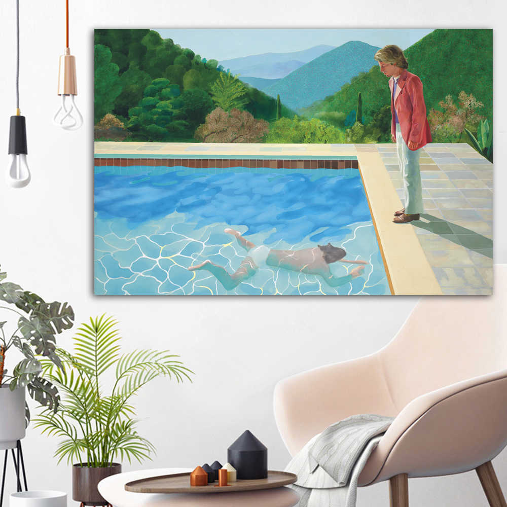 WANGART Canvas Print Poster David Hockney Claude On Stone Landscape Art Pool Portrait Wall Picture For Living Room Home Decor