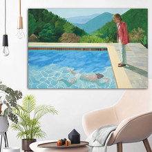 WANGART Canvas Print Poster Claude On Stone Landscape Art Pool Portrait Wall Picture For Living Room Home Decor(China)