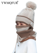Winter Vintage Knit Women Hat Scarf Mask Sets Lady Beanies PomPom Caps Girl Outdoor Warm Mask Female Rings Scarves New Arrival multi function winter warm scarves soft beanies hat cap female girls red ring scarf mask chunky circle loop scarves neck warmer