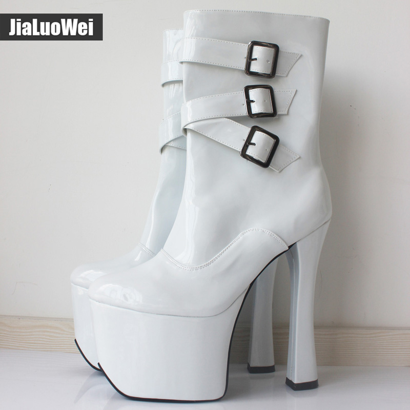 jialuowei 20cm Extreme High heel Platform Buckle Zipper Leather Square heel Sapatos femininos Round Toe Mid Calf boots for Women in Mid Calf Boots from Shoes