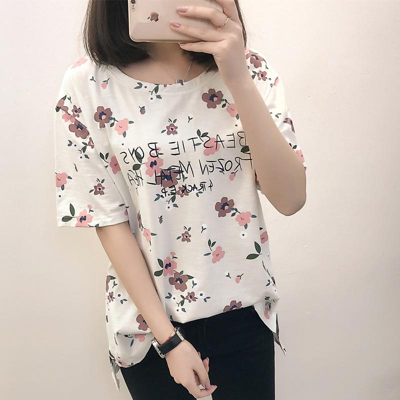 Casual Loose Women Summer T-shirt Womens O-neck Printing Cute T-shirts Female Sweet Girls Tops Females Korean Style New Trendy 3