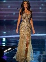 Vestido Senhorita Universo de Verão Pageant Vestidos Sereia de Ouro cortar Cristal Frisada Lace Tulle Prom Vestidos de Celebridades 2016(China (Mainland))