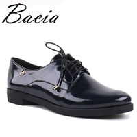 Bacia New 2016 Fashion Genuine Leather Women Shoes lace up 36 40SIZE High quality Flats for Women Patent Shoes Handmade VC020