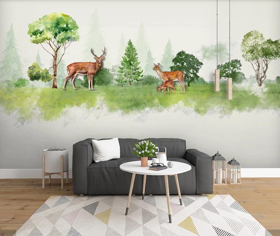 3D Watercolor Forest ELK Animal Kids Bedroom Wallpaper