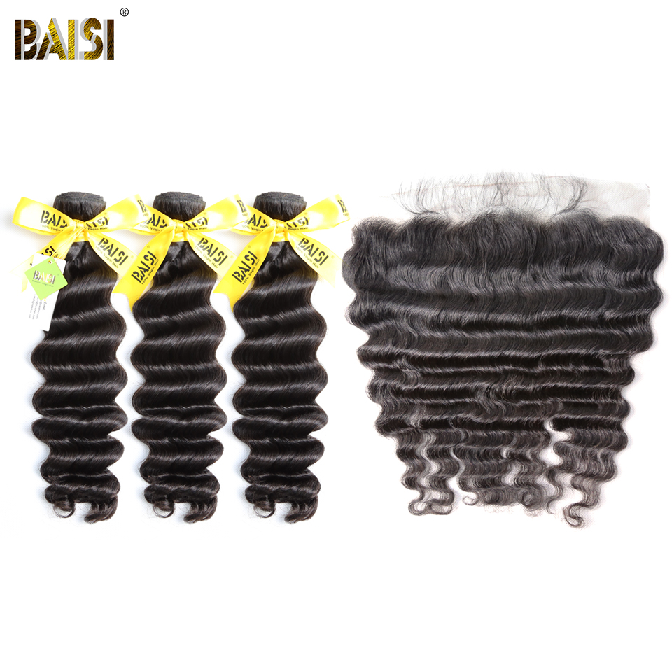 BAISI Hair Brazilian Virgin Natural Wave Hair 100% Unprocessed Human Hair10-28 inch, 3 Bundles and 13x4 Frontal, Free Shipping
