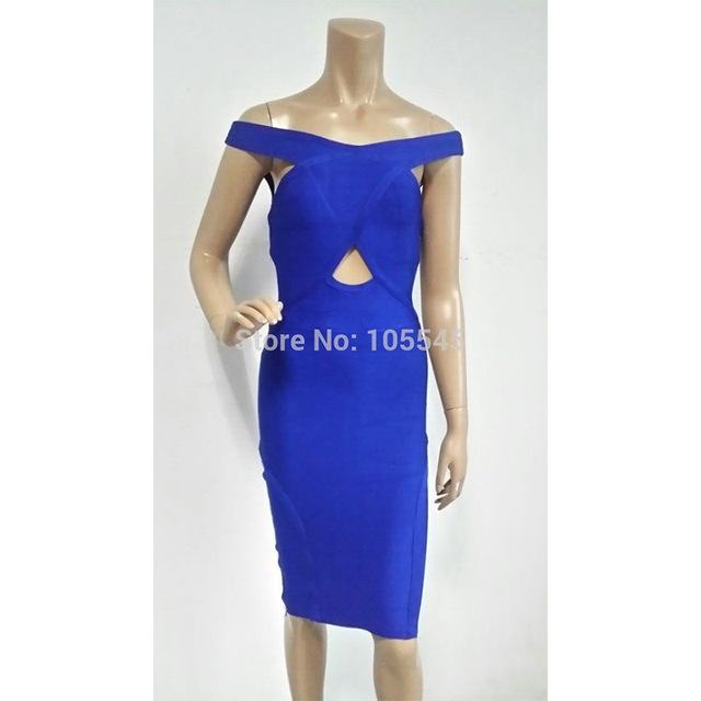 wholesale 2015 Christmas new year eve women blue strap elegant luxury  bodycon sexy midi cocktail party 02db4d811c56