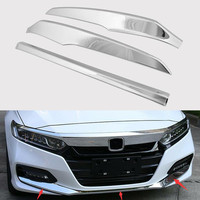 YAQUICKA Fit For Honda Accord 2018 Car Front Bumper Strips Garnish Bezel Car Styling Trim ABS Chrome Exterior Accessories
