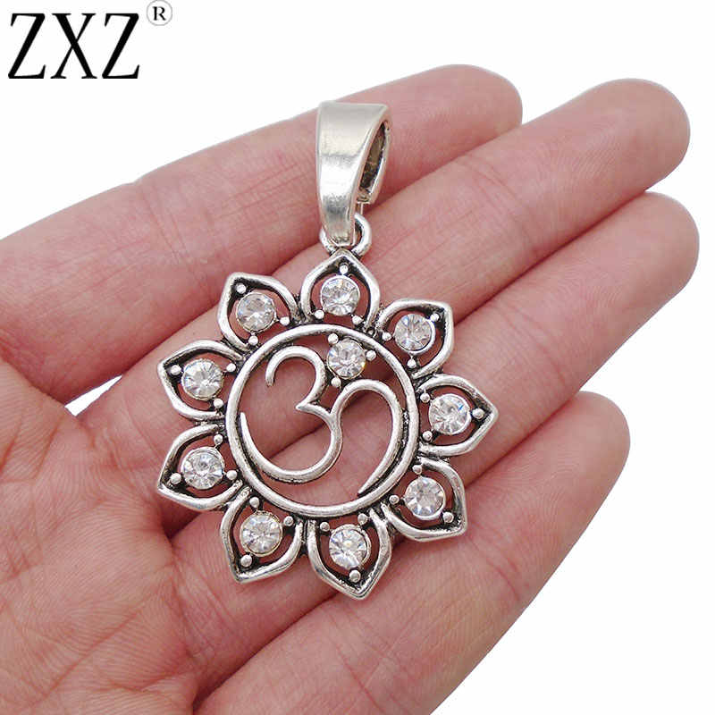 ZXZ 2pcs Antique Silver Hindu OM AUM Crystal Rhinestone Lotus Flower Charms Pendants for Necklace Jewelry Making Findings