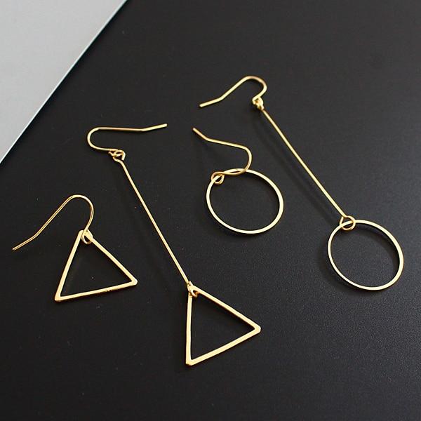 Minimalist hm cos wind length asymmetric geometry hollow circular triangle earrings Lady beautiful stud