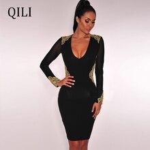 QILI Women Lace Up Patchwork Dress O Neck Long Sleeve Bodycon Dress Black Knee-Length Slim Dress Vestidos Female стоимость