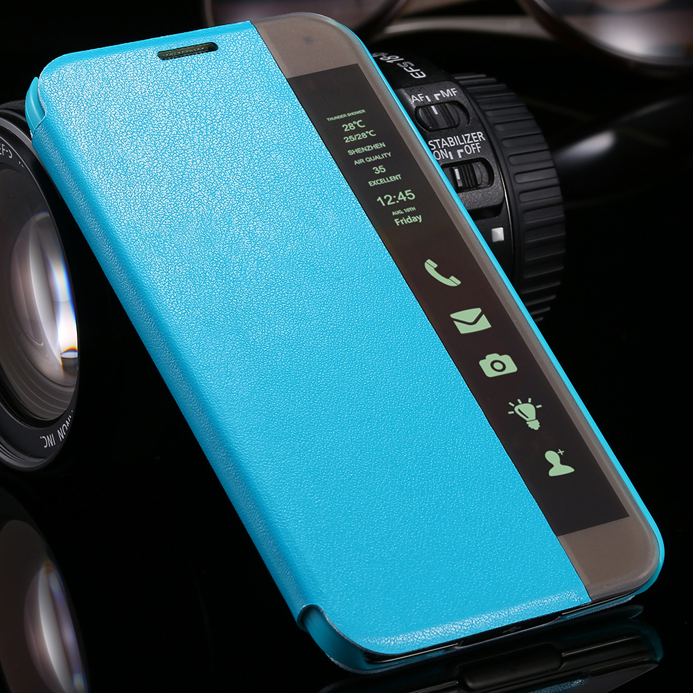 official photos f9afd 9f31b US $4.34 |S5 LED Light Display Smart Touch Flip Leather Case For Samsung S5  Auto Sleep With QR Code Holster Cover For Samsung Galaxy S5 on ...
