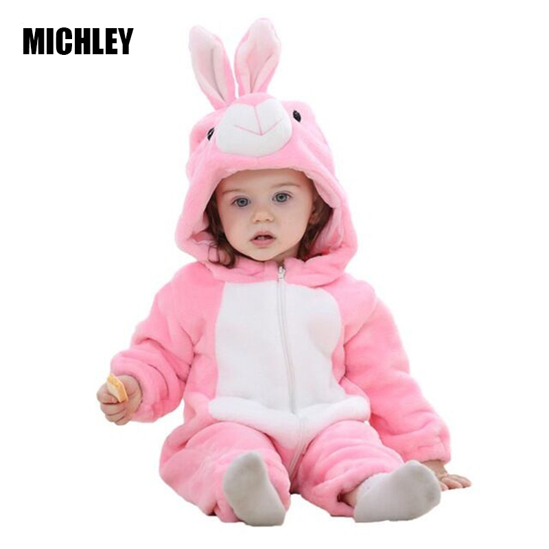 MICHLEY Baby Clothes Infant Romper Baby Boys Girls Jumpsuit New Born Bebe Baby Clothing Hooded Toddler Cute Stitch Baby Costumes