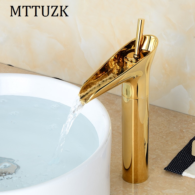 Vidric Free Shipping! Gloden Brass Waterfall Bathroom Faucet Single Handle Vanity Sink Mixer Tap Deck Mounted Wine Glass FaucetVidric Free Shipping! Gloden Brass Waterfall Bathroom Faucet Single Handle Vanity Sink Mixer Tap Deck Mounted Wine Glass Faucet