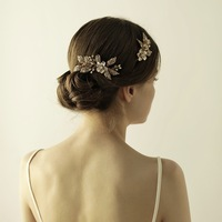 Set Of 2 Gold Leaf Bridal Headpieces Clip Wedding Hair Accessories For Bride Flower Comb Hair