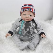 Handsome 20 Inch Realistic Reborn Baby Boy Cloth Body Silicone Newborn Babies Toy With Gray Romper Kids Birthday Xmas Gift