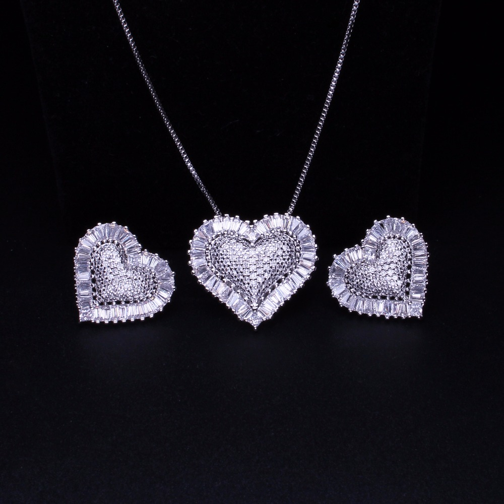 Heart Shape Jewelry Set Full Micro Cubic Zirconia Necklace Stud Earrings Set For Women Fashion Jewelry gift GY0011722WA