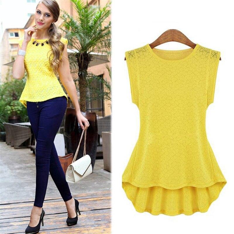 2017 Fashion Ladies Women Sleeveless Asymmetric Hem Yellow Black White  Floral Party Tops Blouse(China - Online Get Cheap Yellow Top Blouse -Aliexpress.com Alibaba Group