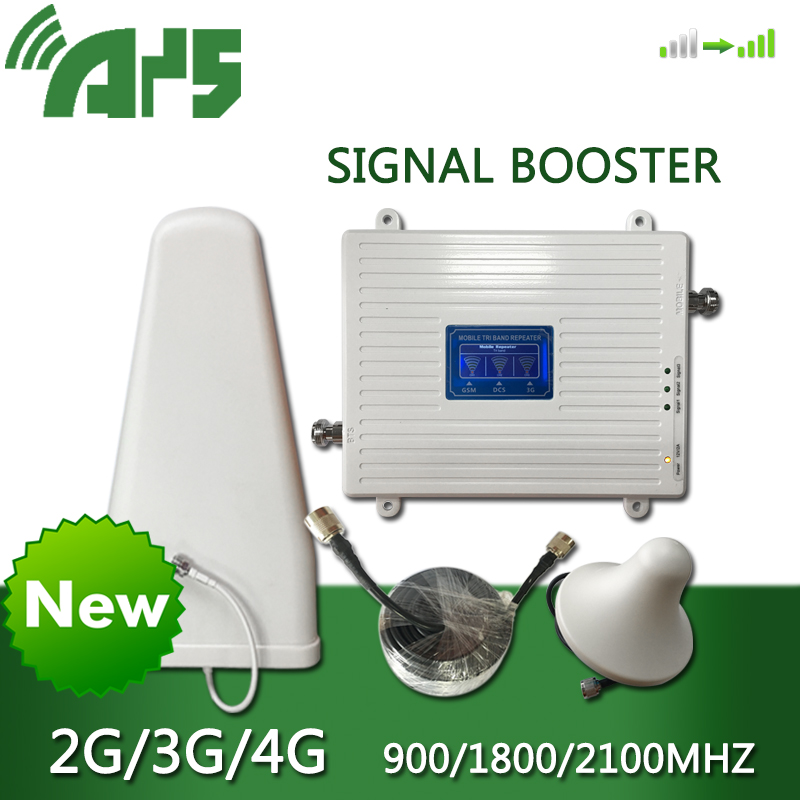 AYS GSM 2G 3G 4G Cell Phone Booster Tri Band Mobile Signal Amplifier LTE Cellular Repeater GSM DCS WCDMA 900 1800 2100 Set