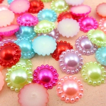 Free Shipping 144Pcs/lot 10mm Imitation Pearls Half Round Flatback Flower Beads Wedding Cards Embellishments DIY Decoration