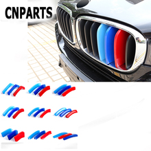 CNPARTS 3pcs For BMW X5 E70 F15 X1 E84 F48 X3 F25 X4 F26 X6 E71 F16 3D M Car Front Grille Trim Strips Cover Motorsport Stickers