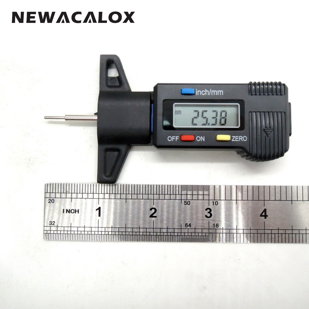NEWACALOX Precision Measuring Digital Tread Depth Gauge 0-25mm/0.01 LCD Display Tyre Tread Brake Pad Wear Shoe 0-1