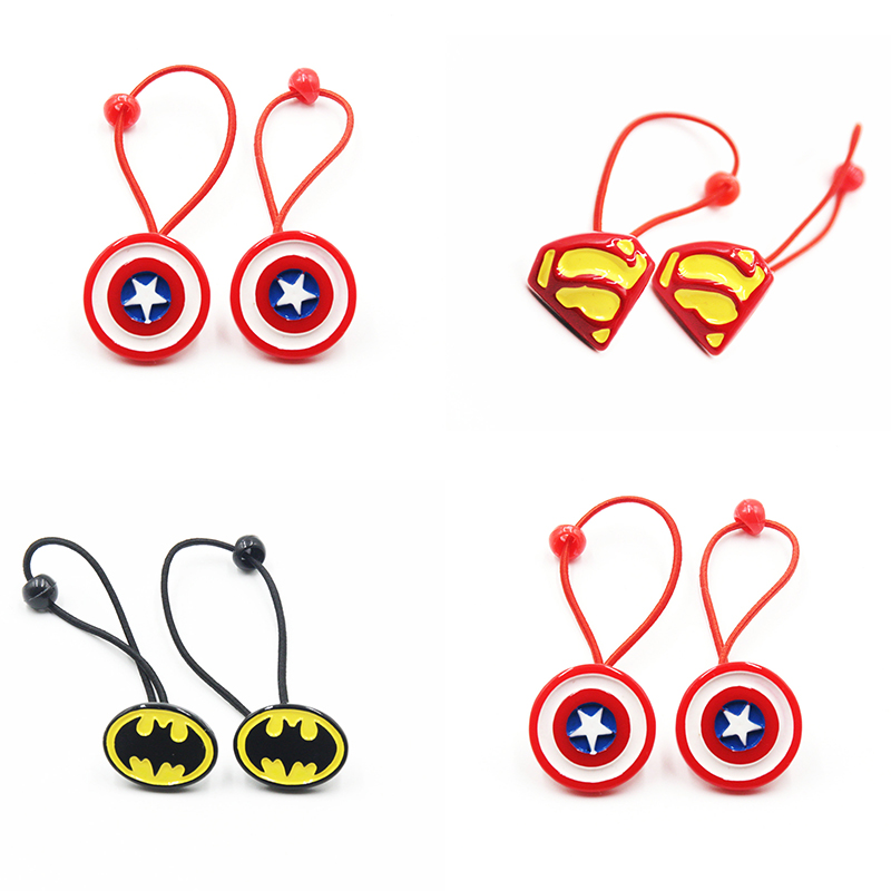 2 PCS/Lot New Cartoon Superman Batman Captain America Elastic Hair Ties Ropes Hair Holder For Cool Hair Accessories