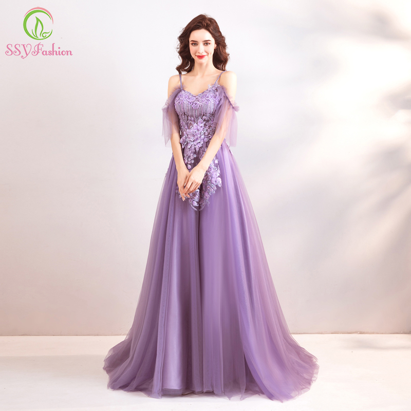 SSYFashion New Purple Evening Dress Sexy V neck Floor length Lace Appliques Prom Party Gown Robe De Soiree Formal Dresses