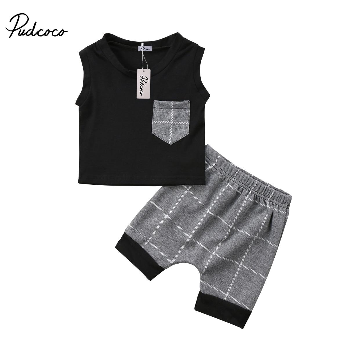 2018 Brand New Neonato Infantile Del Bambino Bambini Baby Boy Senza Maniche Tops T-shirt Pantaloni Corti Checket Outfits 2 Pz Set Estate Vestiti