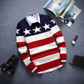 Sweater Striped Men 2016 Mens Pullovers Sweater Casual Young Slim Printing Design Knitted Sweater Men Thin Pullover Homme Tide