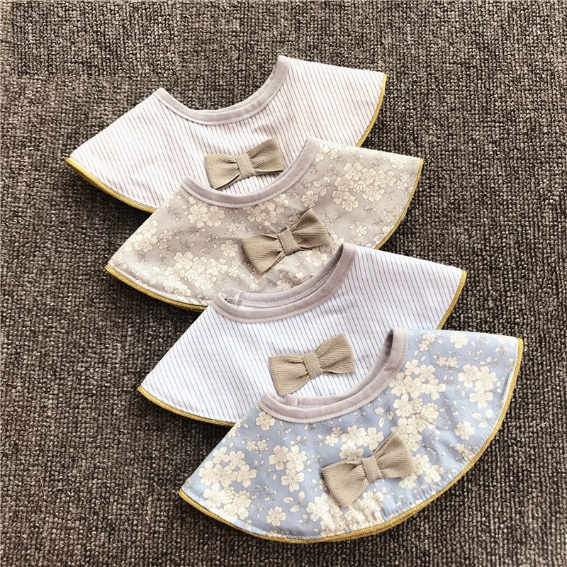 Ins Retro Cotton Breathable Baby Bibs Breastplate Waterproof Kids Things Baby Stuff 360 Degree Rice Pocket
