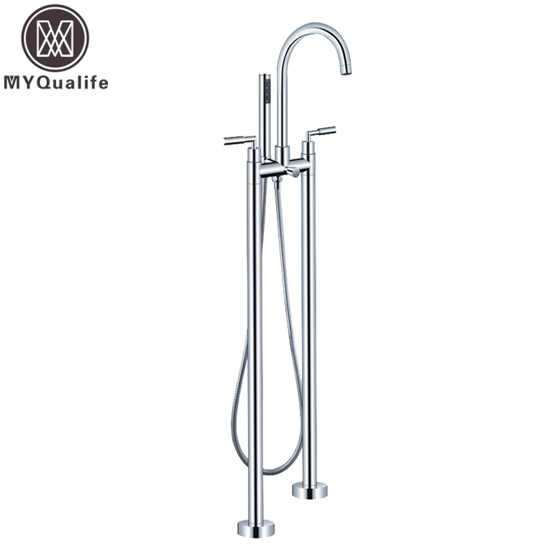 Good Quality Free Standing Bathroom Tub Faucet with Handheld Shower Floor Mounted Dual Handles Tub Sink Mixers Chrome Finished